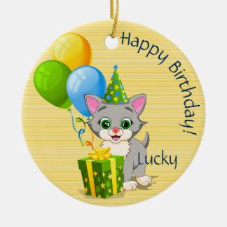 Birthday Cutie Grey Kitten Cartoon Christmas Ornament