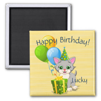 Birthday Cutie Grey Kitten Cartoon Square Magnet