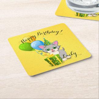 Birthday Cutie Grey Kitten Cartoon Square Paper Coaster