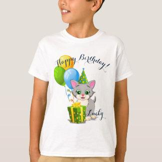 Birthday Cutie Grey Kitten Cartoon T-Shirt