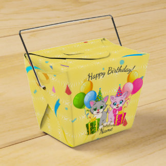 Birthday Cutie Pink and Grey Kitten Cartoons Favour Box
