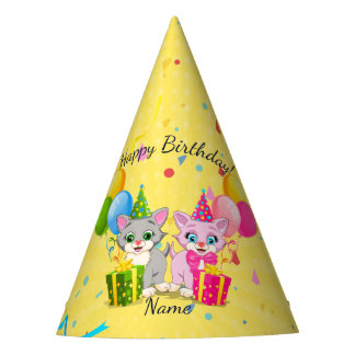 Birthday Cutie Pink and Grey Kitten Cartoons Party Hat