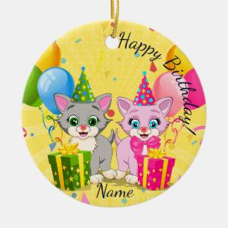 Birthday Cutie Pink and Grey Kitten Cartoons Round Ceramic Decoration