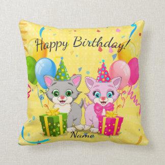 Birthday Cutie Pink and Grey Kitten Cartoons Throw Pillow