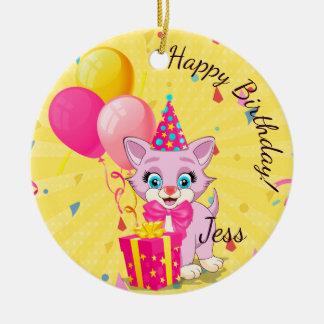 Birthday Cutie Pink Kitten Cartoon Christmas Ornament