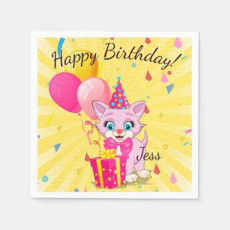 Birthday Cutie Pink Kitten Cartoon Disposable Napkin