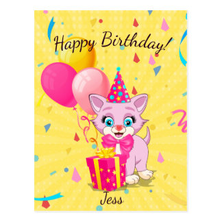 Birthday Cutie Pink Kitten Cartoon Postcard
