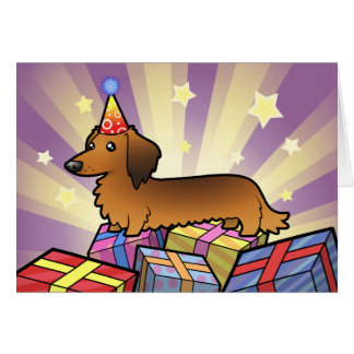 Birthday Dachshund (longhair) Card
