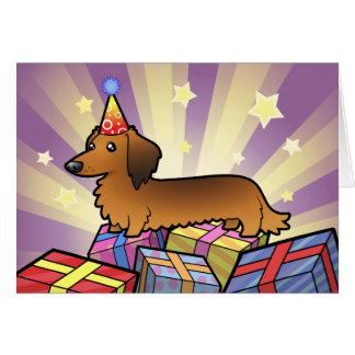 Birthday Dachshund (longhair) Greeting Card