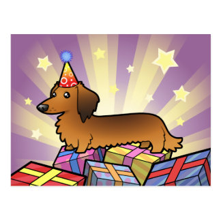 Birthday Dachshund longhair Post Card