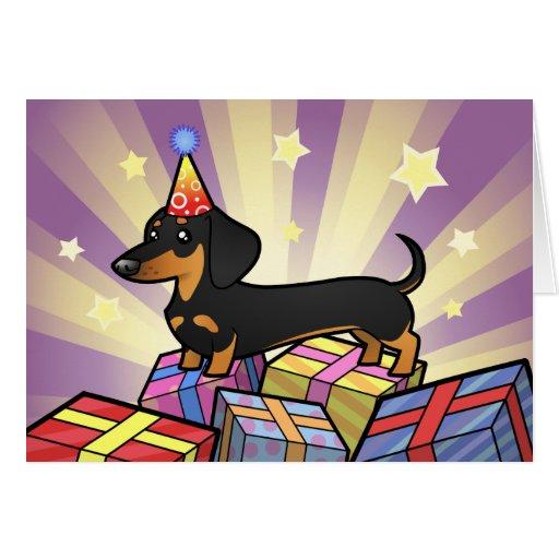 Birthday Dachshund (smooth coat) Greeting Card