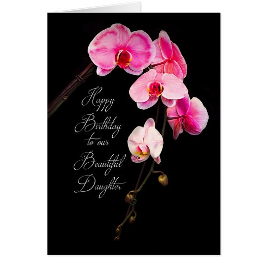 BIRTHDAY - DAUGHTER - FUCHSIA ORCHIDS CARD
