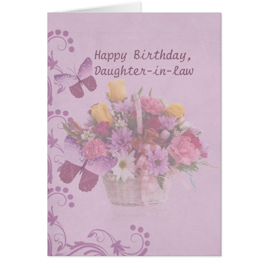 Birthday, Daughter-in-law, Basket of Flowers Card