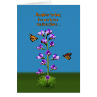Birthday, Daughter-in-law, Flowers and Butterflies Card