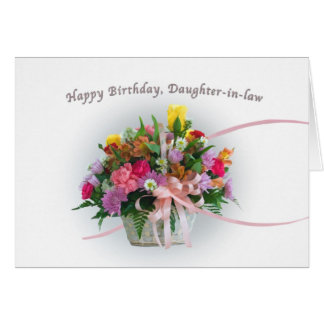Birthday, Daughter-in-law, Flowers in a Basket Greeting Card