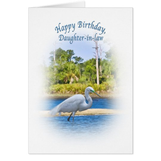 Birthday, Daughter-in-law, Great Egret Card