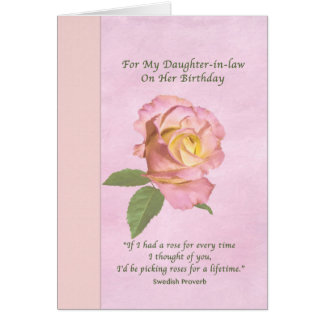 Birthday, Daughter-in-law, Peace Rose Greeting Card
