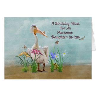 Birthday, Daughter-in-law, Pelican, Flowers Card