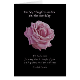 Birthday, Daughter-in-law, Pink Rose on Black Greeting Card