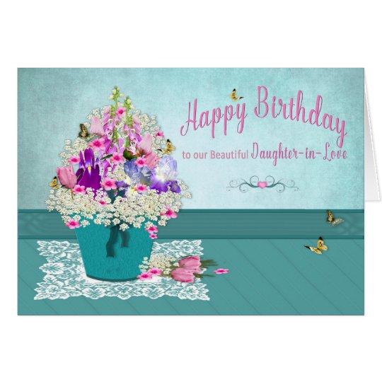 Birthday - Daughter-in-Love -Bucket of Flowers Card