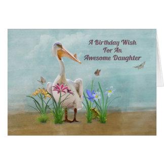 Birthday, Daughter, Pelican, Flowers Card
