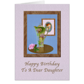 Birthday, Daughter, Still Life with Pitcher and Ro Greeting Card