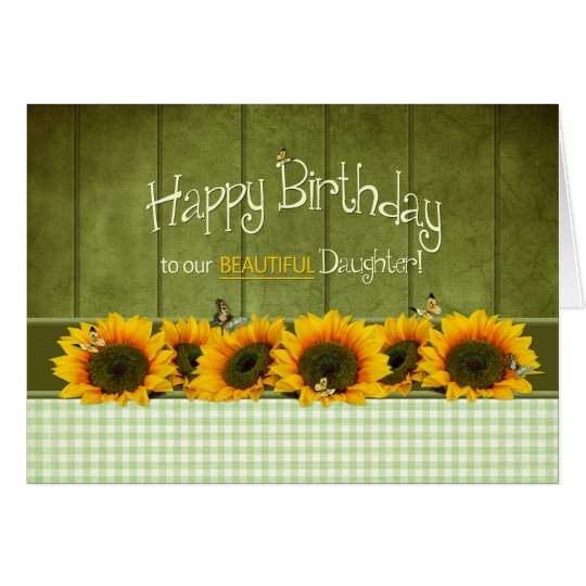 Birthday - Daughter - Sunflowers and butterflies Card