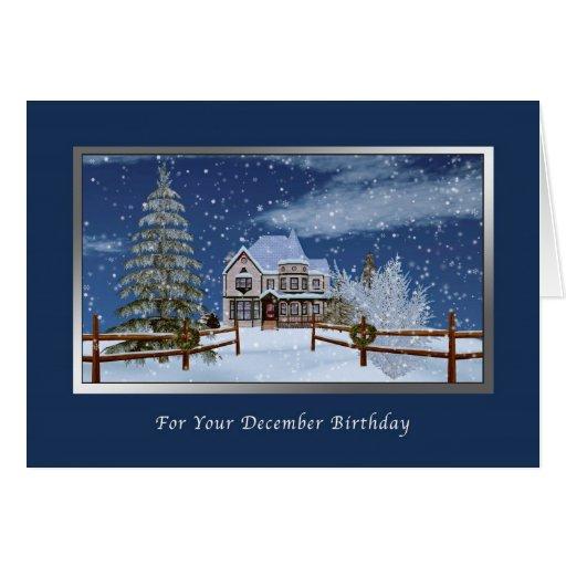 Birthday, December, Snowy Winter Scene Greeting Cards