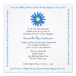 Birthday Delightful Daisy Message Sweet 16 13 Cm X 13 Cm Square Invitation Card