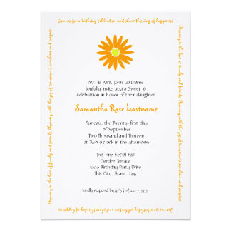 Birthday Delightful Daisy Message Sweet 16 13 Cm X 18 Cm Invitation Card