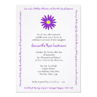 Birthday Delightful Daisy Message Sweet 16 14 Cm X 19 Cm Invitation Card