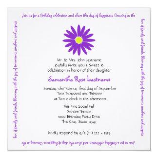 Birthday Delightful Purple Daisy Sweet 16 Message 13 Cm X 13 Cm Square Invitation Card