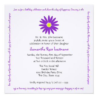 Birthday Delightful Purple Daisy Sweet 16 Message Custom Invitation