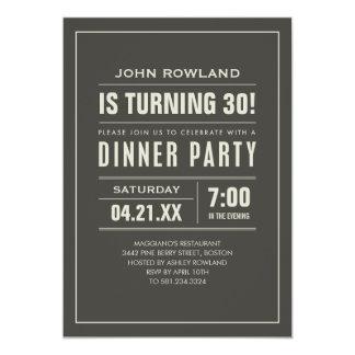 "Birthday Dinner Party Invitations 5"" X 7"" Invitation Card"