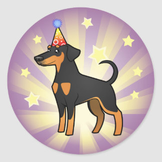 Birthday Doberman Pinscher (floppy ears) Round Sticker