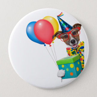 Birthday Dog With Balloons Tie and Glasses 10 Cm Round Badge
