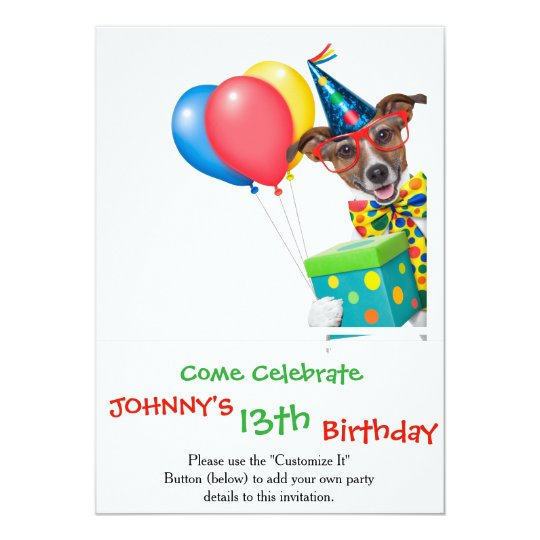 Birthday Dog With Balloons Tie and Glasses Card
