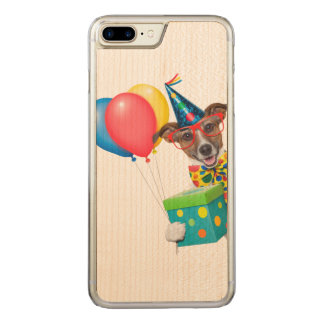 Birthday Dog With Balloons Tie and Glasses Carved iPhone 7 Plus Case