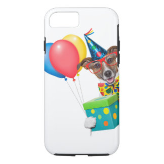 Birthday Dog With Balloons Tie and Glasses iPhone 7 Case