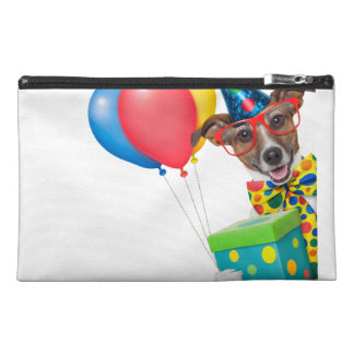 Birthday Dog With Balloons Tie and Glasses Travel Accessory Bag