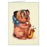 Birthday Dog with Saxophone Greeting Card