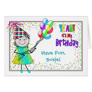 BIRTHDAY -DORI'S Collection- Balloons and Confetti Greeting Card