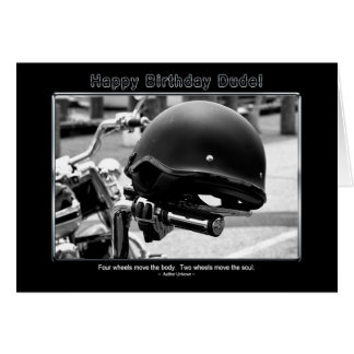 Birthday - Dude - Friend -Biker Card
