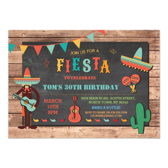 Birthday Fiesta Mexico Mexican Hat Party Invite