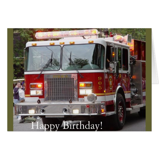 Birthday Fire Engine Card