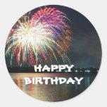 BIRTHDAY: Fireworks at the Lake Celebration Round Sticker