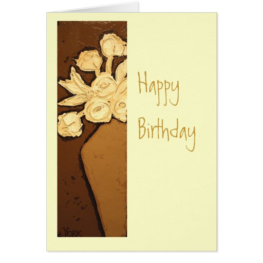 Birthday floral with creamy flowers card
