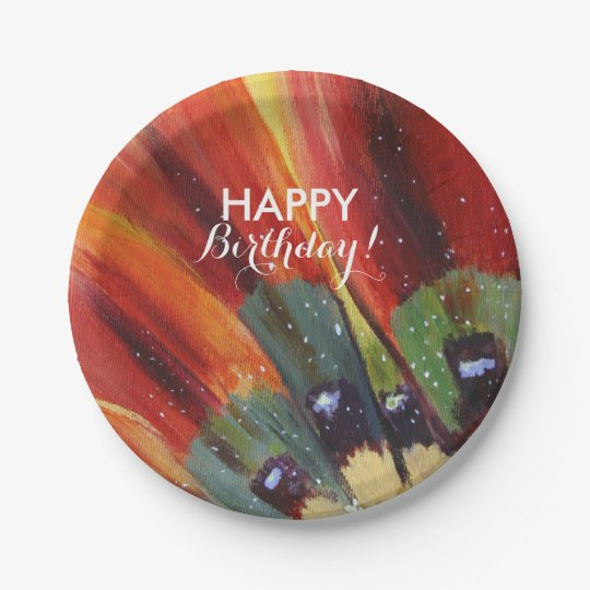 Birthday  Flower  Custom Paper Plates 7 in 7 Inch Paper Plate