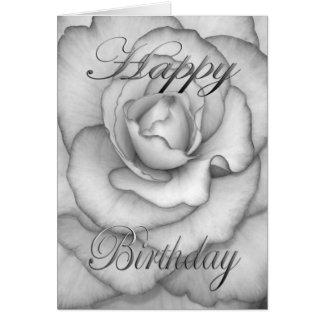 Birthday Flower white and black Card