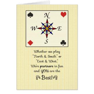 Birthday for  Bridge Partner, Partners in Fun Greeting Card